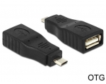 Delock Adapter USB Micro B male > USB 2.0 female OTG full covered
