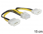 Delock Cable Power 8 Pin EPS > 2 x 4 Pin molex, 15 cm